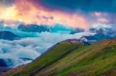 Foggy Val di Fassa valley — Stock Photo