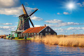 Authentic Zaandam mills on the water channel — Stock Photo