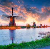 Dutch windmills at Kinderdijk — Stock Photo
