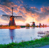 Dutch windmills at Kinderdijk — Stockfoto