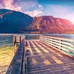Colorful summer morning on Bohinj lake — Stock Photo #74104923