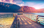 Colorful summer morning on Bohinj lake — Stock Photo