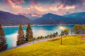 Evening view of lake Sauris — Stock Photo