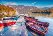 Morning on the Bohinj Lake with boats — Stock Photo