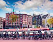 Colorful spring morning in the Amsterdam — Stock Photo