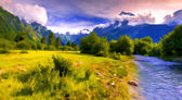 Blue river in the mountains — Stock Photo