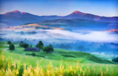 Mountain village in the mist — Stock Photo