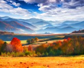 Autumn morning in the mountains. — Stock Photo