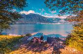 Resting place on the coast of Bohinj lake — Stock Photo