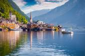 Hallstatt Lutheran Church in the morning mist — Stock Photo