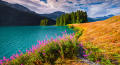 Morning on the Champferersee lake — Stock Photo