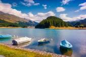 Small boats on the Champferersee lake. — Stock Photo