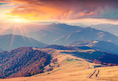 Sunrise in the Carpathian mountains — Stock Photo