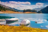 Lake Champfer lake in Swiss Alps. — Stock Photo