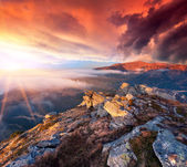 Landscape in the mountains. Sunrise — Stock Photo