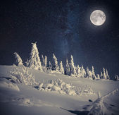 Night sky in the winter mountains — Stock Photo