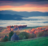 Sunrise in the foggy mountains — Stock Photo