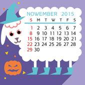 Calendar NOWEMBER 2015 sheep — Stock Vector