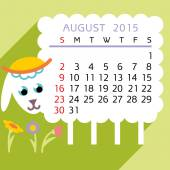 Calendar AUGUST 2015 sheep — Stock Vector