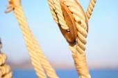 Sailboat pulleys and ropes — Stock Photo