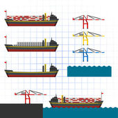 Container Ship with Cranes — Stock Vector