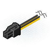 Isométrique 4 broches, connecteur Pcie — Vecteur
