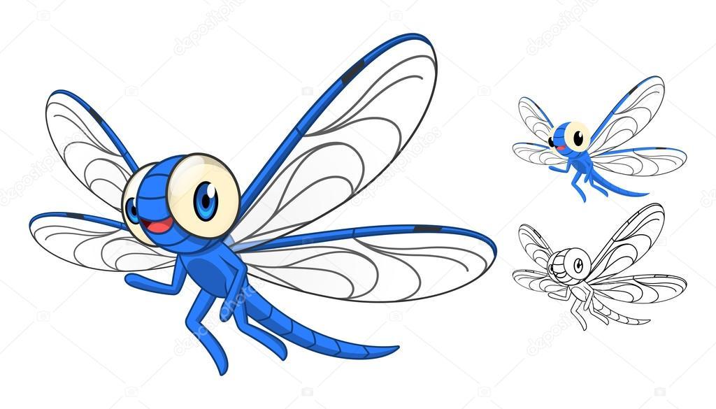D taill e de personnage de dessin anim de libellule avec - Libellule dessin ...