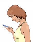 Hamilelik testi ile kız — Stok Vektör