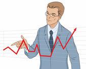 Businessman making presentation with graph — 图库矢量图片