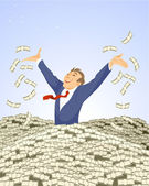 Businessman swimming in money — Stock Vector
