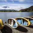 Clouds around Mount Fuji and boats in foreground — Stock Photo #56238657