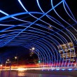 The tunnel at night, the lights formed a line — Stock Photo #56612153