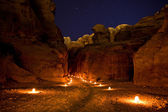 The Treasury at Petra Jordan lit at night — Stok fotoğraf