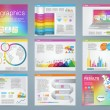 Big set of infographics elements in modern business style, IT infochat. Rainbow color presentation template. Use in website, flyer, corporate report, presentation, advertising, marketing. — Stock Vector #67705535