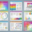Big set of infographics elements in modern business style, IT infochat. Rainbow color presentation template. Use in website, flyer, corporate report, presentation, advertising, marketing. — Stock Vector #67705591