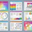 Big set of infographics elements in modern business style, IT infochat. Rainbow color presentation template. Use in website, flyer, corporate report, presentation, advertising, marketing. — Stock Vector #67705627