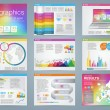 Big set of infographics elements in modern business style, IT infochat. Rainbow color presentation template. Use in website, flyer, corporate report, presentation, advertising, marketing. — Stock Vector #67705631