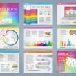 Big set of infographics elements in modern business style, IT infochat. Rainbow color presentation template. Use in website, flyer, corporate report, presentation, advertising, marketing. — Stock Vector #67705643