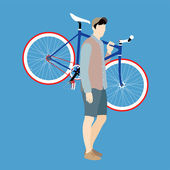Cyclists and fixed gear bicycle — Vecteur