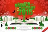 Prettige kerstdagen en gelukkig nieuwjaarskaart — Stockvector