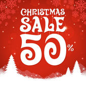 Christmas sale on red background — Stock Vector