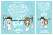 Wedding Invitation Card. Valentine Card — Stock Vector