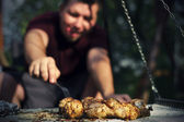 Man waiting for his dinner — Stock Photo