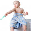 Cute toddler brushing his teeth — Stock Photo #63696743