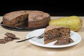 Torta al cioccolato con pere — Foto Stock