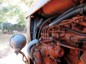 Old italian crawler tractor — Stock Photo