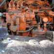 Engine of old italian crawler tractor — Stock Photo #74552309
