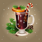 Christmas drink mulled wine — Stock Vector