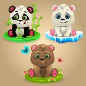 Cartoon Three Bears — Vector de stock