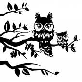 Silhouettes of owls — Stock Vector